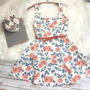 Atmosphere Floral Skater Dress with Woven Belt